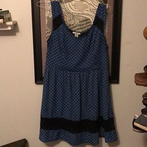 Black and Blue Print Dress